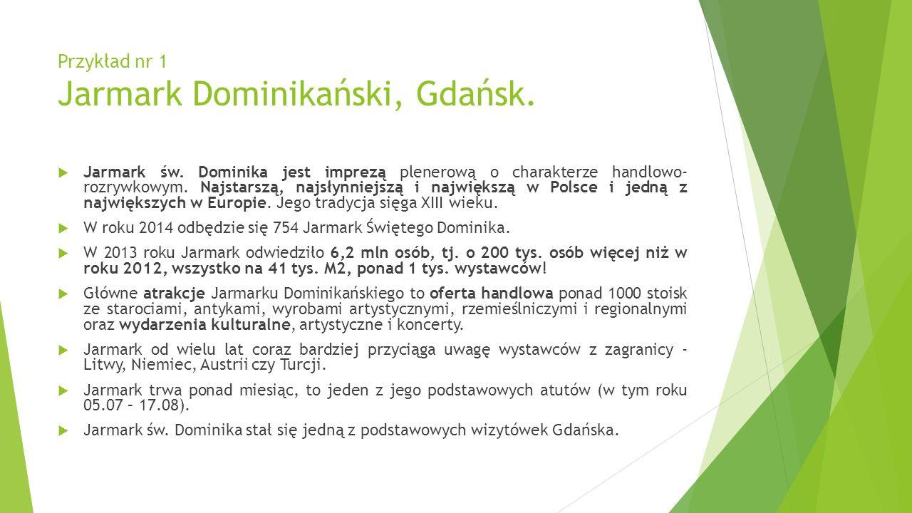 Przykład nr 1 Jarmark Dominikański, Gdańsk. Jarmark św. Dominika jest imprezą plenerową o charakterze handlowo- rozrywkowym. Najstarszą, najsłynniejsz