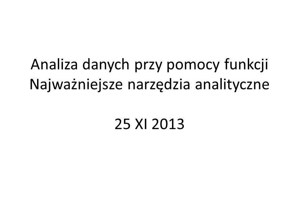 Analiza danych przy pomocy funkcji przegląd wybranych funkcji Excela (m.in.