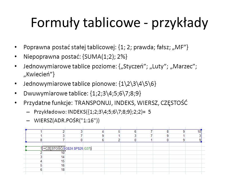 Formuły tablicowe - przykłady Poprawna postać stałej tablicowej: {1; 2; prawda; fałsz; MF} Niepoprawna postać: {SUMA(1;2); 2%} Jednowymiarowe tablice