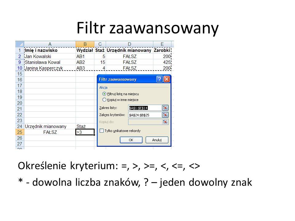 Filtr zaawansowany Określenie kryterium: =, >, >=, * - dowolna liczba znaków, ? – jeden dowolny znak