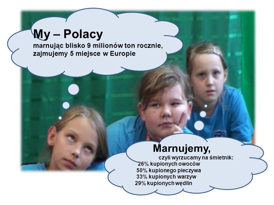 My – Polacy marnując blisko 9 milionów ton rocznie, zajmujemy 5 miejsce w Europie Marnujemy, czyli wyrzucamy na śmietnik: 26% kupionych owoców 50% kup