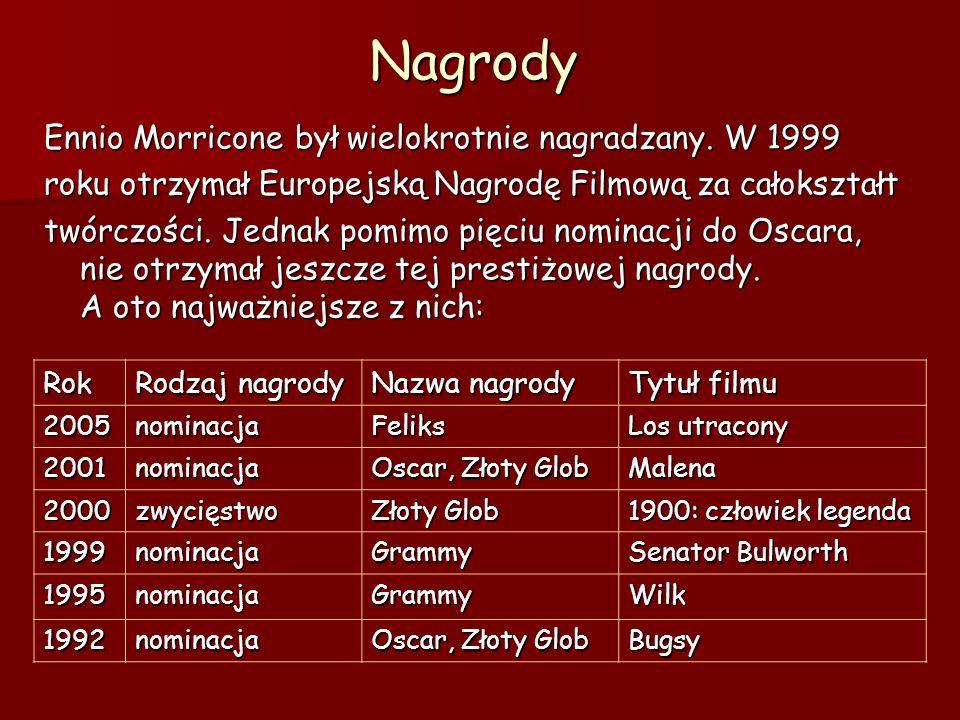 NagrodyEnnio Morricone był wielokrotnie nagradzany.