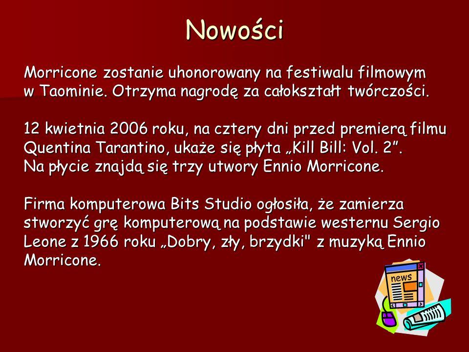 NowościMorricone zostanie uhonorowany na festiwalu filmowym w Taominie.
