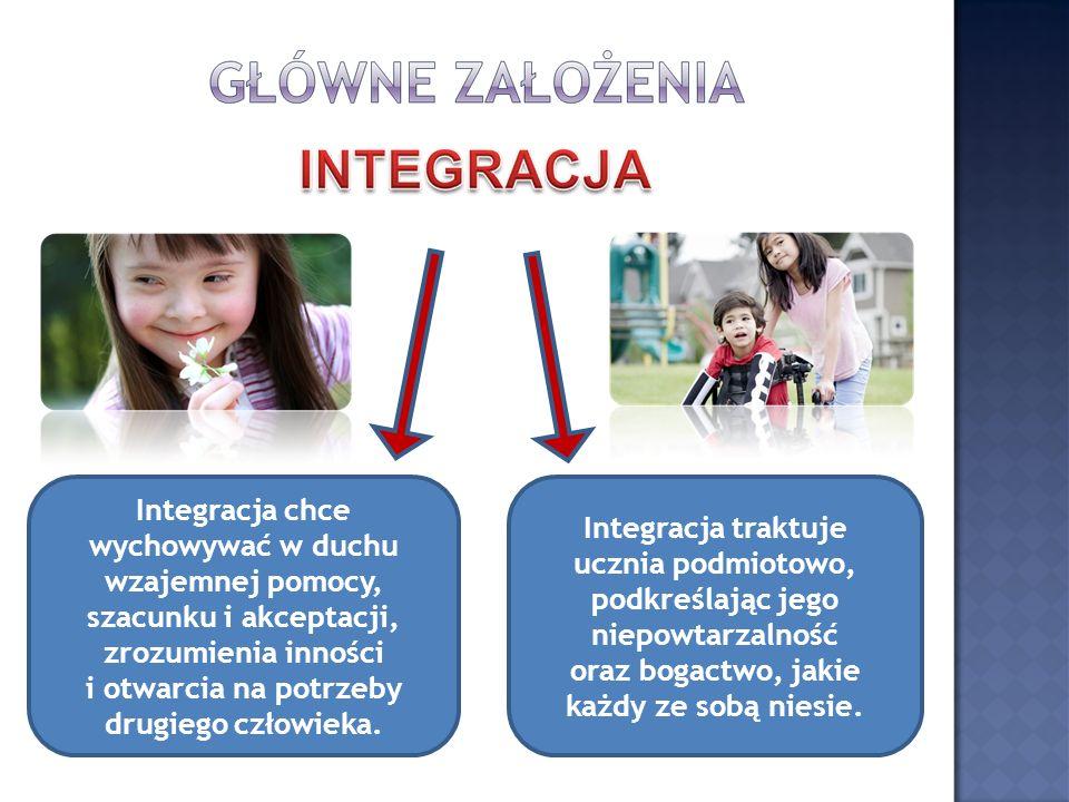 Integracja chce wychowywać w duchu wzajemnej pomocy, szacunku i akceptacji, zrozumienia inności i otwarcia na potrzeby drugiego człowieka. Integracja