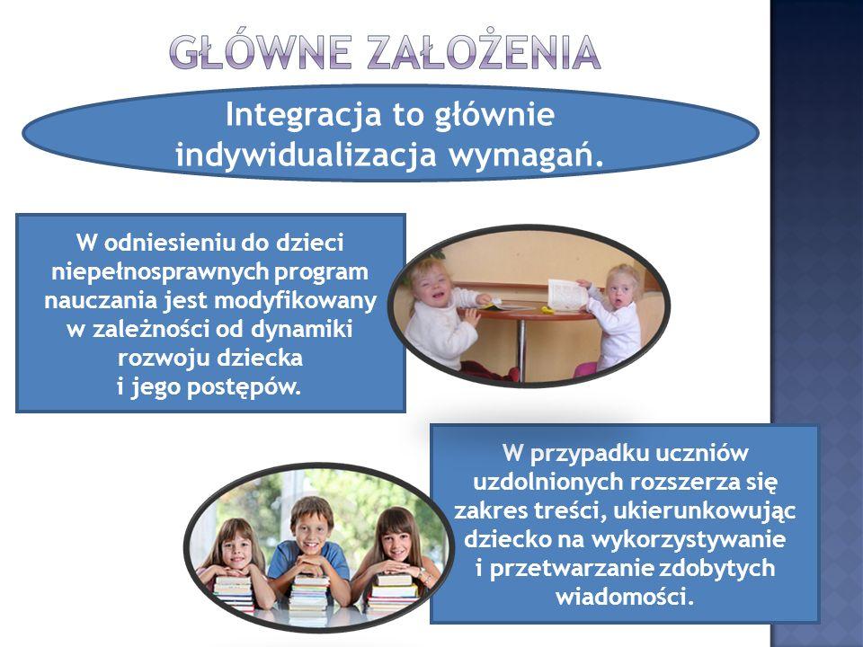 Integracja to głównie indywidualizacja wymagań. W odniesieniu do dzieci niepełnosprawnych program nauczania jest modyfikowany w zależności od dynamiki