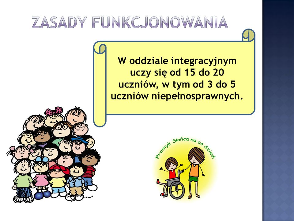 W oddziale integracyjnym uczy się od 15 do 20 uczniów, w tym od 3 do 5 uczniów niepełnosprawnych.