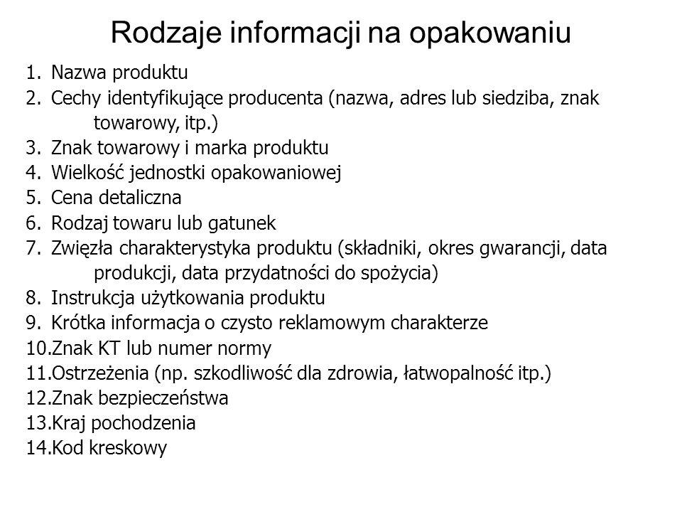 Rodzaje informacji na opakowaniu 1.Nazwa produktu 2.Cechy identyfikujące producenta (nazwa, adres lub siedziba, znak towarowy, itp.) 3.Znak towarowy i
