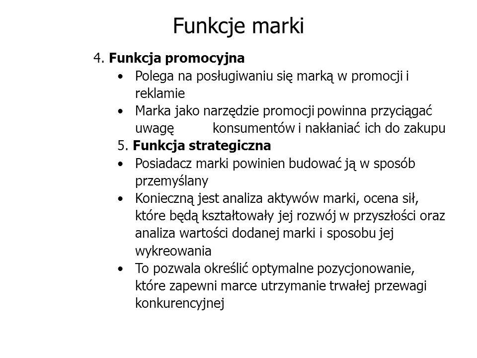 Funkcje marki 4. Funkcja promocyjna Polega na posługiwaniu się marką w promocji i reklamie Marka jako narzędzie promocji powinna przyciągać uwagę kons