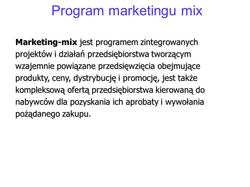 Program marketingu mix Marketing-mix jest programem zintegrowanych projektów i działań przedsiębiorstwa tworzącym wzajemnie powiązane przedsięwzięcia