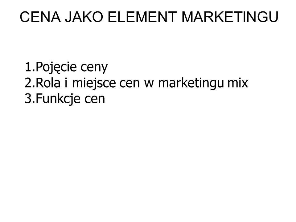 1.Pojęcie ceny 2.Rola i miejsce cen w marketingu mix 3.Funkcje cen