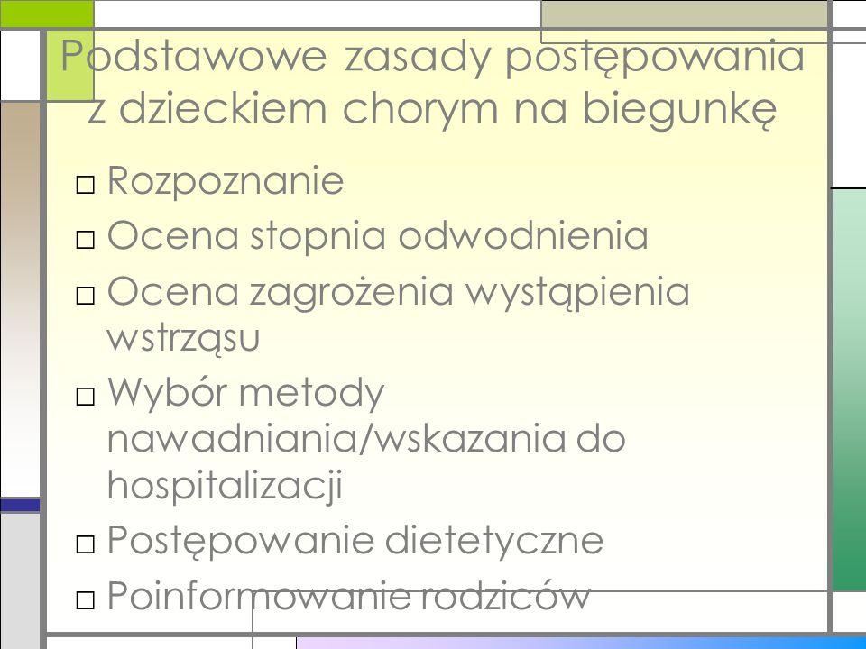 Podstawowe zasady postępowania z dzieckiem chorym na biegunkę Rozpoznanie Ocena stopnia odwodnienia Ocena zagrożenia wystąpienia wstrząsu Wybór metody