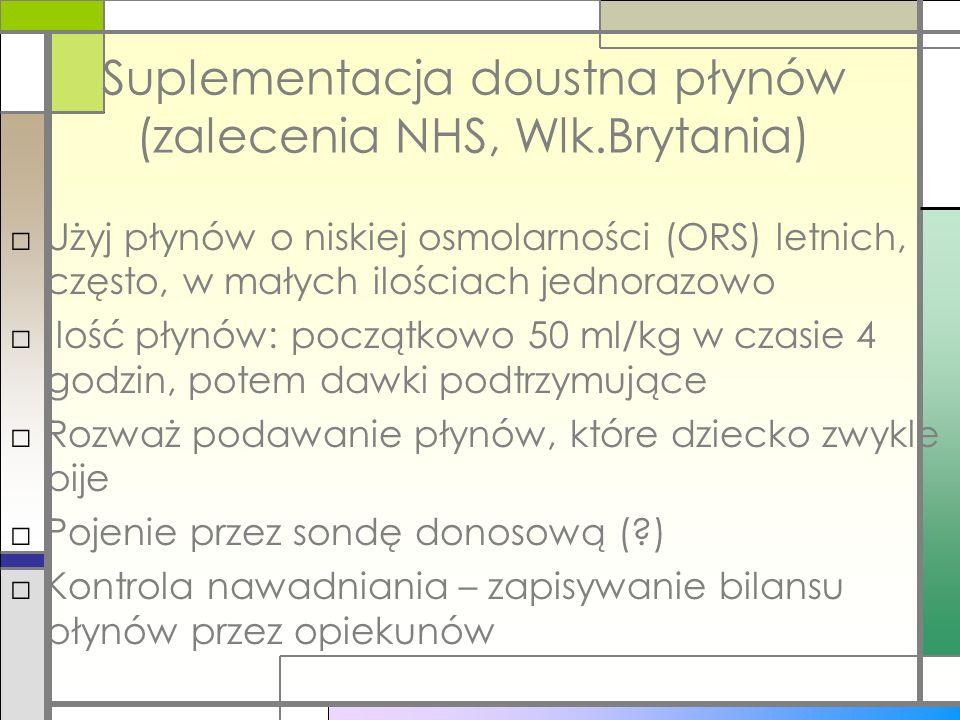 Suplementacja doustna płynów (zalecenia NHS, Wlk.Brytania) Użyj płynów o niskiej osmolarności (ORS) letnich, często, w małych ilościach jednorazowo Il