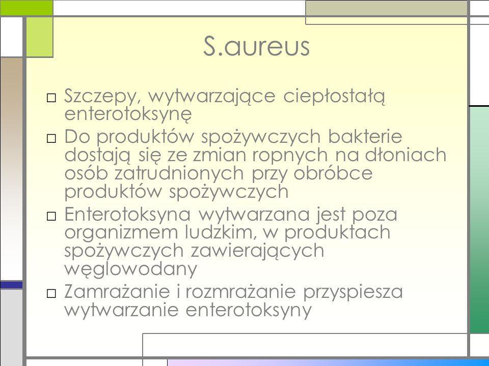 S.aureus Szczepy, wytwarzające ciepłostałą enterotoksynę Do produktów spożywczych bakterie dostają się ze zmian ropnych na dłoniach osób zatrudnionych