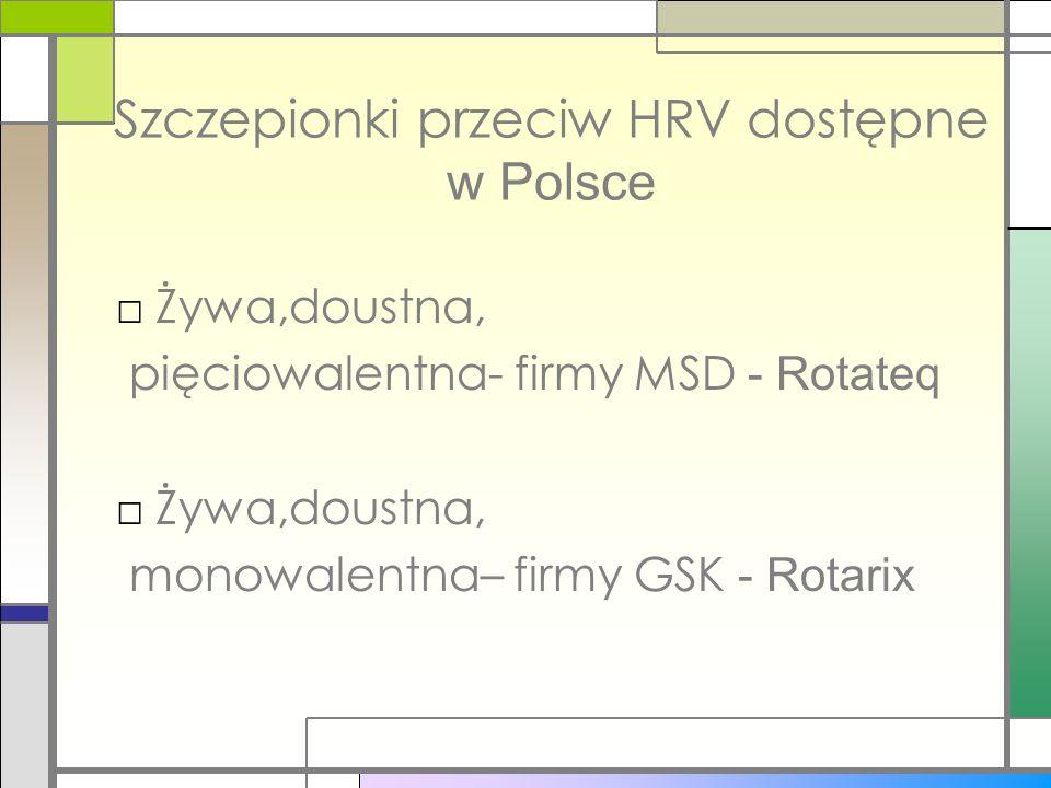 Szczepionki przeciw HRV dostępne w Polsce Żywa,doustna, pięciowalentna- firmy MSD - Rotateq Żywa,doustna, monowalentna– firmy GSK - Rotarix