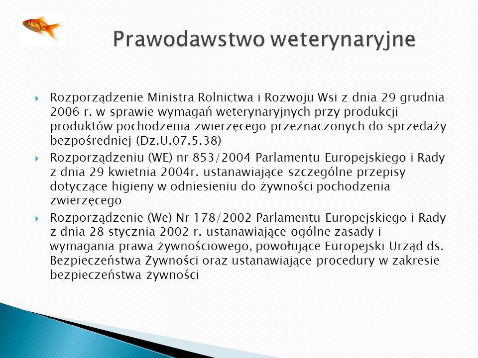 Rozporządzenie Ministra Rolnictwa i Rozwoju Wsi z dnia 29 grudnia 2006 r. w sprawie wymagań weterynaryjnych przy produkcji produktów pochodzenia zwier