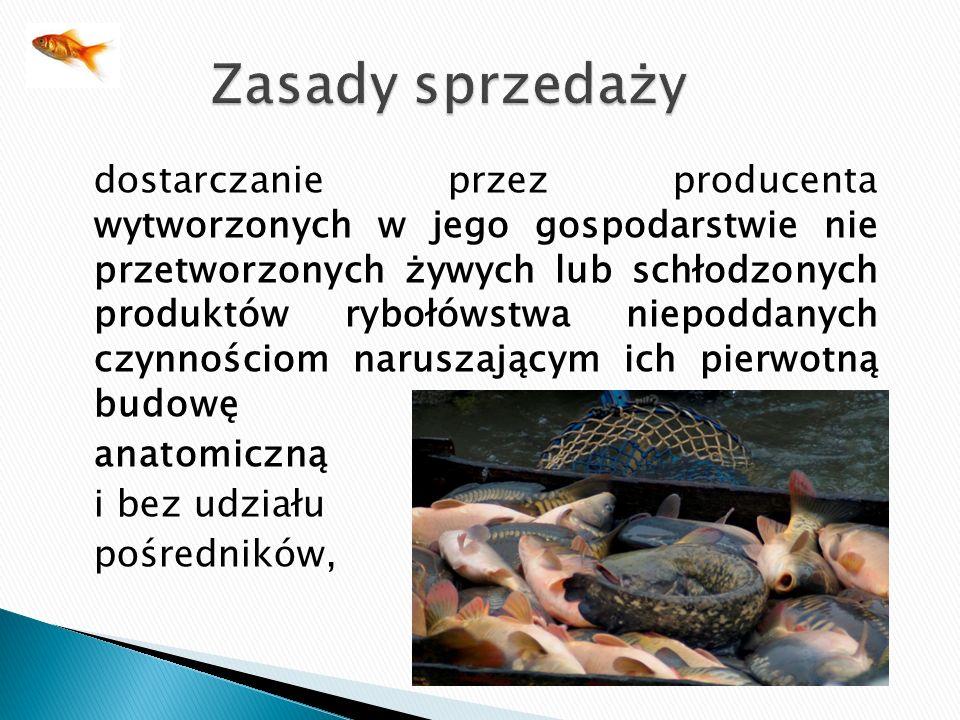 dostarczanie przez producenta wytworzonych w jego gospodarstwie nie przetworzonych żywych lub schłodzonych produktów rybołówstwa niepoddanych czynnośc