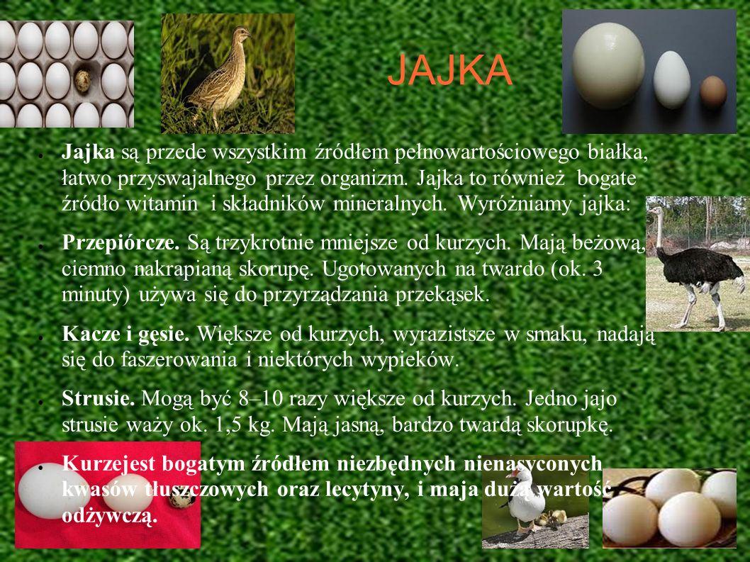 JAJKA Jajka są przede wszystkim źródłem pełnowartościowego białka, łatwo przyswajalnego przez organizm. Jajka to również bogate źródło witamin i skład