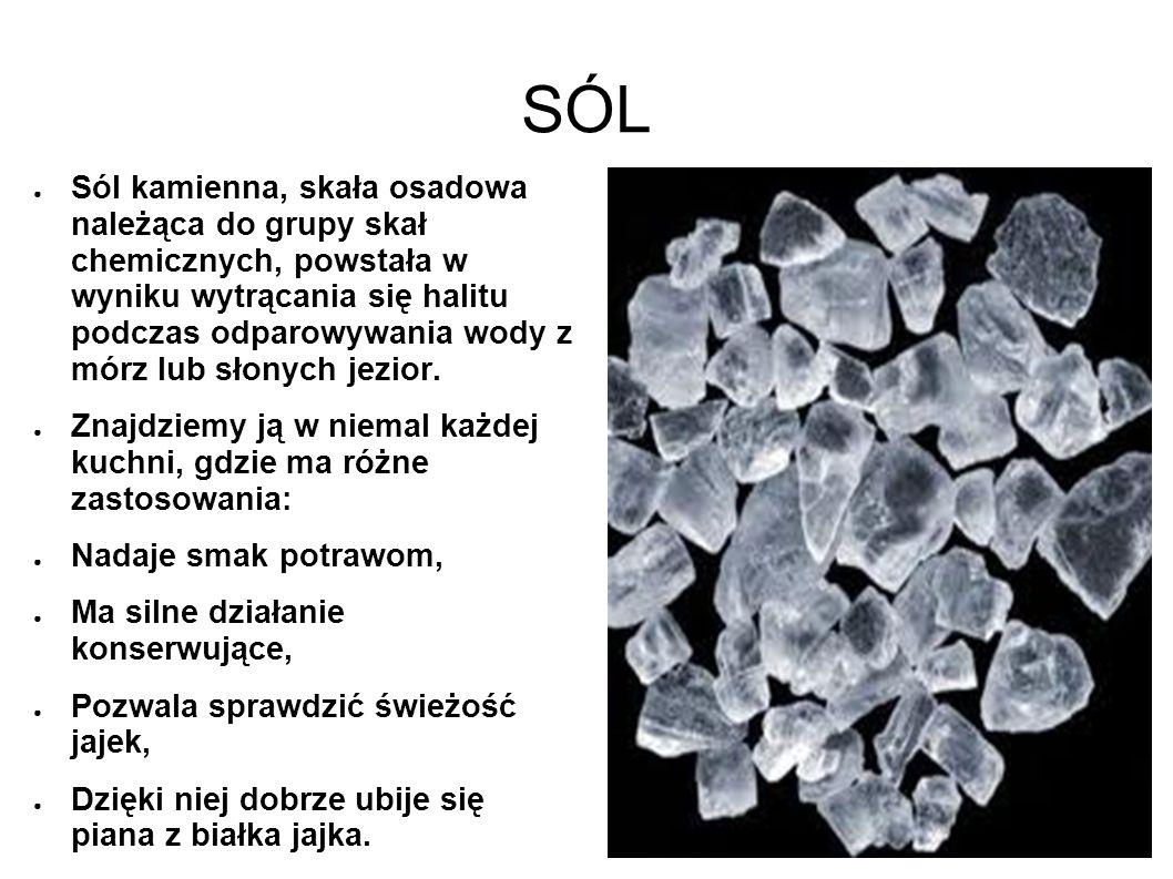 SÓL Sól kamienna, skała osadowa należąca do grupy skał chemicznych, powstała w wyniku wytrącania się halitu podczas odparowywania wody z mórz lub słon
