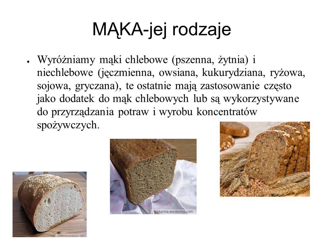 MĄKA-jej rodzaje Wyróżniamy mąki chlebowe (pszenna, żytnia) i niechlebowe (jęczmienna, owsiana, kukurydziana, ryżowa, sojowa, gryczana), te ostatnie mają zastosowanie często jako dodatek do mąk chlebowych lub są wykorzystywane do przyrządzania potraw i wyrobu koncentratów spożywczych.