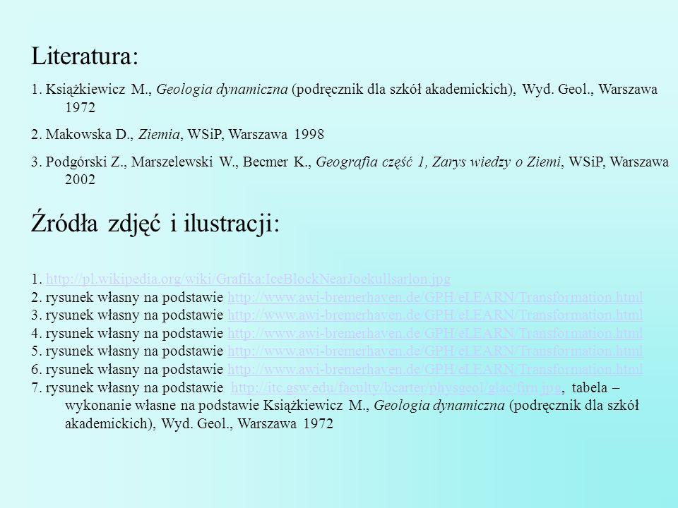 Literatura: 1. Książkiewicz M., Geologia dynamiczna (podręcznik dla szkół akademickich), Wyd. Geol., Warszawa 1972 2. Makowska D., Ziemia, WSiP, Warsz