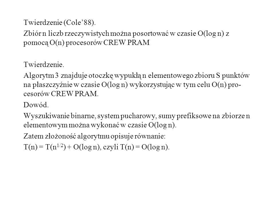 Twierdzenie (Cole88). Zbiór n liczb rzeczywistych można posortować w czasie O(log n) z pomocą O(n) procesorów CREW PRAM Twierdzenie. Algorytm 3 znajdu
