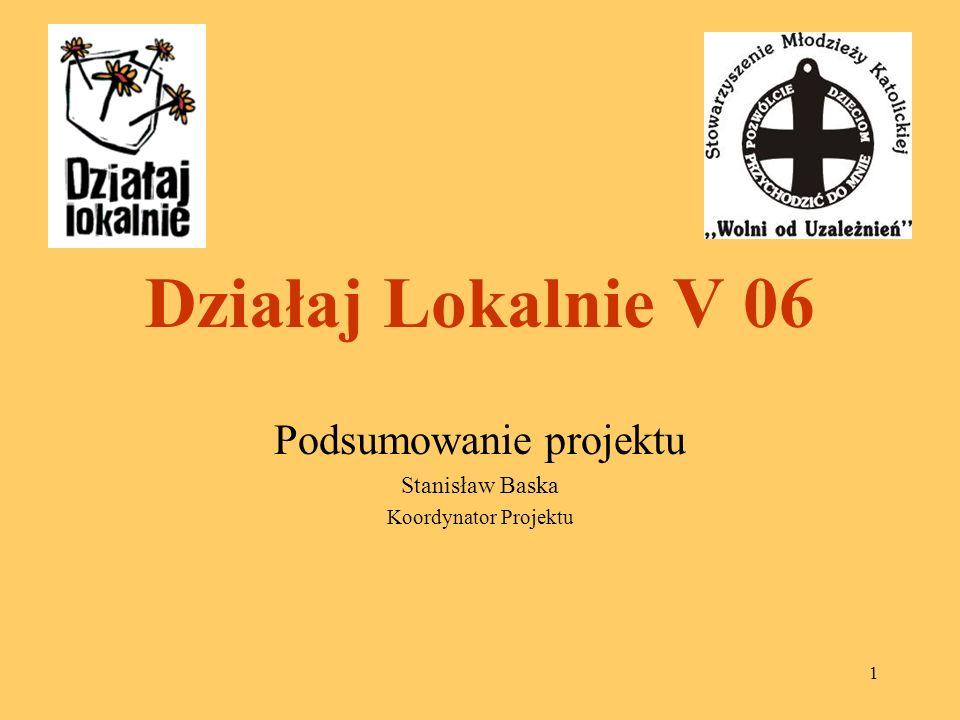 1 Działaj Lokalnie V 06 Podsumowanie projektu Stanisław Baska Koordynator Projektu