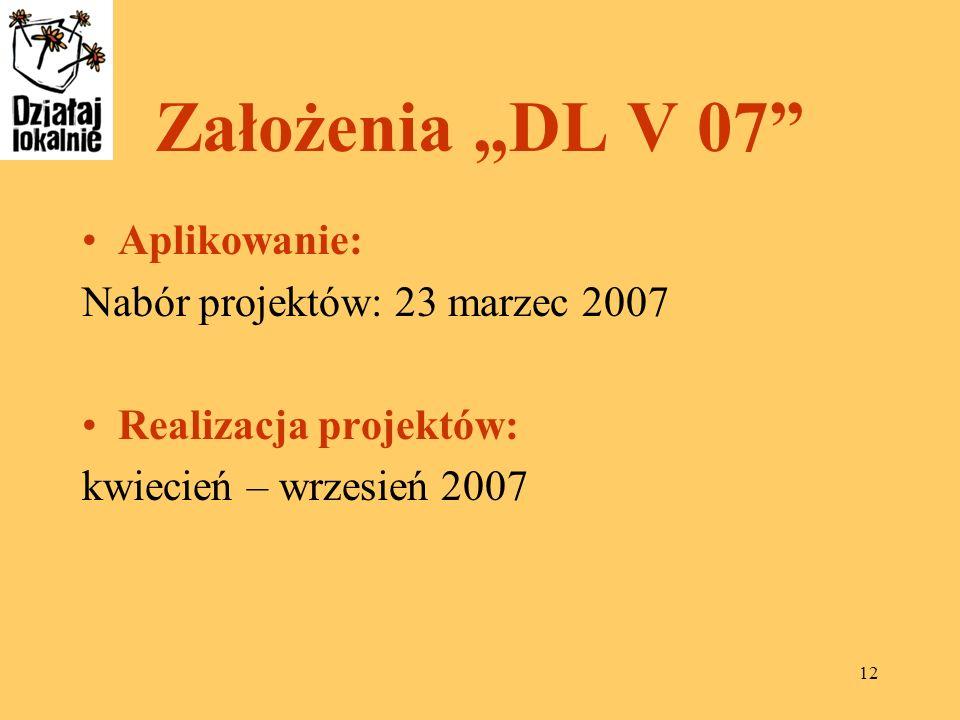 12 Założenia DL V 07 Aplikowanie: Nabór projektów: 23 marzec 2007 Realizacja projektów: kwiecień – wrzesień 2007
