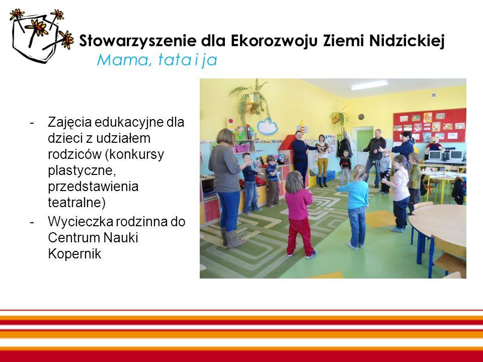 Stowarzyszenie dla Ekorozwoju Ziemi Nidzickiej Mama, tata i ja -Zajęcia edukacyjne dla dzieci z udziałem rodziców (konkursy plastyczne, przedstawienia