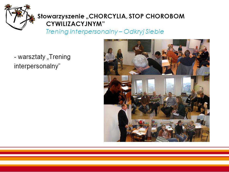 Stowarzyszenie CHORCYLIA, STOP CHOROBOM CYWILIZACYJNYM Trening Interpersonalny – Odkryj Siebie - warsztaty Trening interpersonalny