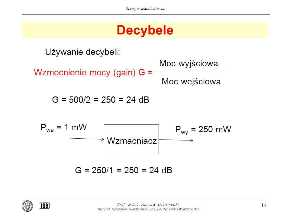 Szumy w układach w.cz.Decybele Prof.. dr hab.. Janusz A.