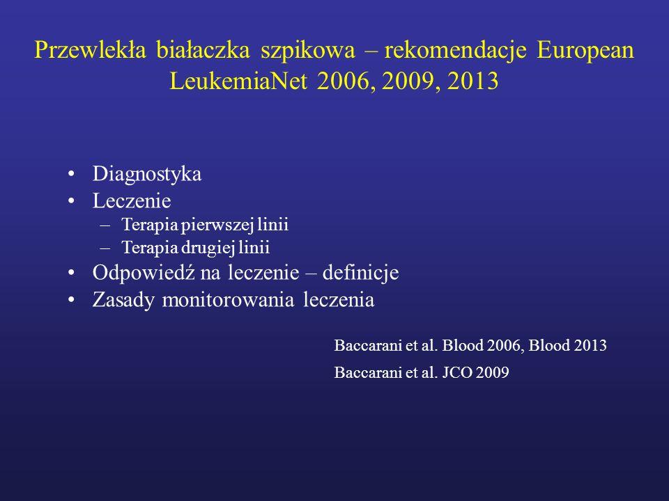 Przewlekła białaczka szpikowa – rekomendacje European LeukemiaNet 2006, 2009, 2013 Diagnostyka Leczenie –Terapia pierwszej linii –Terapia drugiej lini