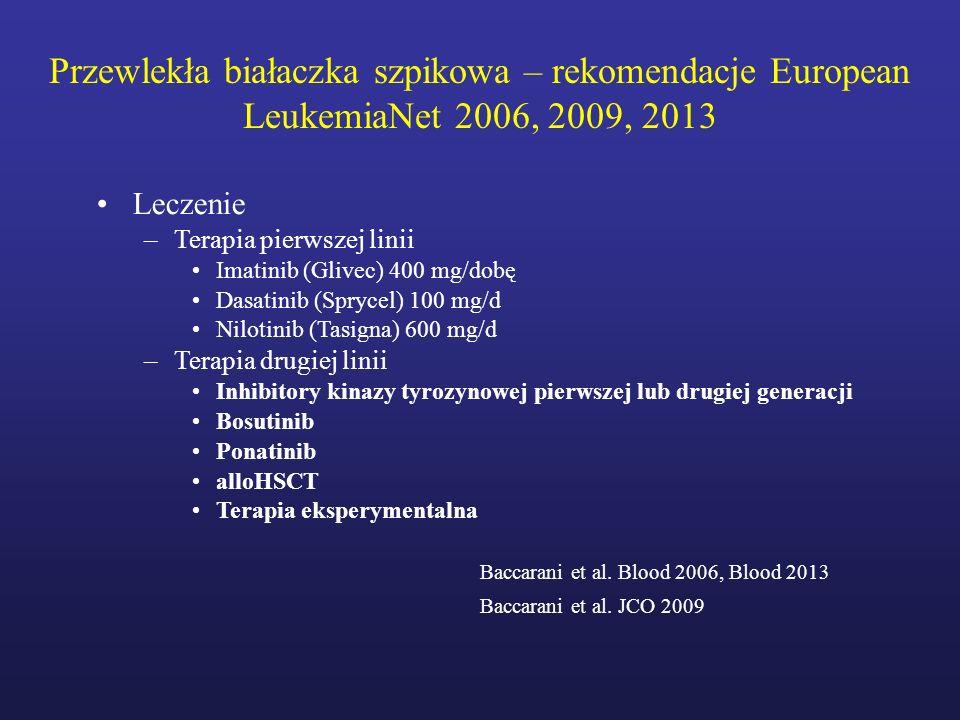 Przewlekła białaczka szpikowa – rekomendacje European LeukemiaNet 2006, 2009, 2013 Leczenie –Terapia pierwszej linii Imatinib (Glivec) 400 mg/dobę Das