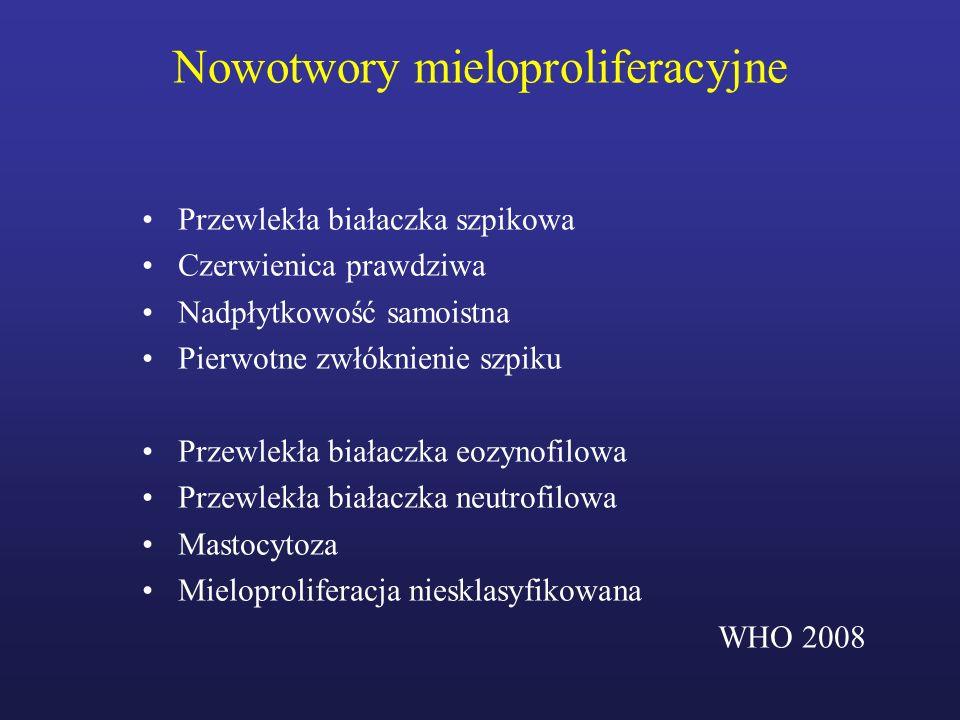 Diagnostyka Kryteria fazy akceleracji –blasty we krwi obwodowej lub szpiku 10-19% (-29% wg ELN) –bazofilia krwi 20% –małopłytkowość < 100 G/l (nie związana z leczeniem) –nadpłytkowość > 1000 G/l –klonalna ewolucja cytogenetyczna (dodatkowe aberracje chromosomowe) –powiększenie śledziony lub wzrost leukocytozy nie reagujący na terapię Kryteria kryzy blastycznej –odsetek blastów 20% (30% wg ELN) –pozaszpikowe nacieki białaczkowe WHO