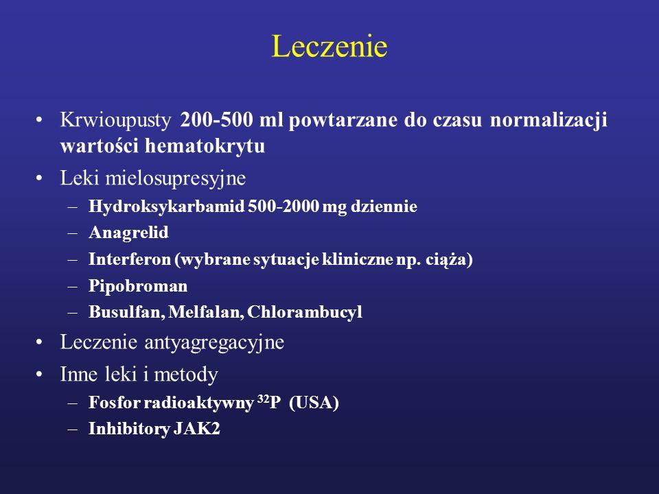 Leczenie Krwioupusty 200-500 ml powtarzane do czasu normalizacji wartości hematokrytu Leki mielosupresyjne –Hydroksykarbamid 500-2000 mg dziennie –Ana