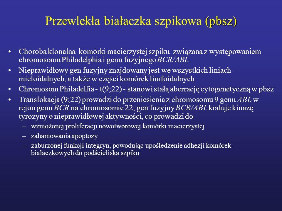 Modele rokownicze w pbsz Modele rokownicze służą do przewidywania czasu do wystąpienia przełomu blastycznego, pomocne w wyborze metody leczenia u chorego na pbsz Powszechnie uznane modele rokownicze (wskaźnik Sokala, wskaźnik Hasforda, Euro, Eutos) uwzględniają następujące parametry: –wiek chorego –wielkość śledziony –odsetek blastów w krwi obwodowej –liczbę płytek krwi –odsetek bazofili i eozynofili w krwi