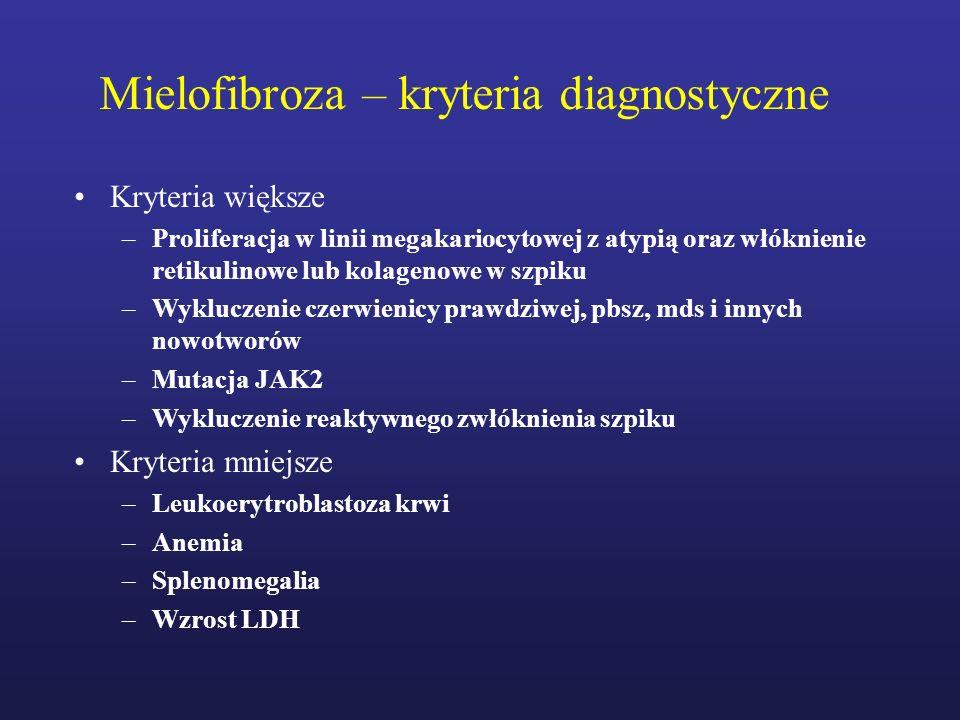Mielofibroza – kryteria diagnostyczne Kryteria większe –Proliferacja w linii megakariocytowej z atypią oraz włóknienie retikulinowe lub kolagenowe w s