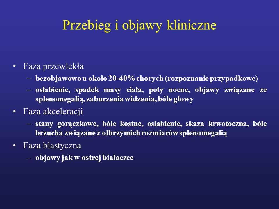 Przewlekła białaczka szpikowa – rekomendacje European LeukemiaNet 2006, 2009, 2013 Leczenie –Terapia pierwszej linii Imatinib (Glivec) 400 mg/dobę Dasatinib (Sprycel) 100 mg/d Nilotinib (Tasigna) 600 mg/d –Terapia drugiej linii Inhibitory kinazy tyrozynowej pierwszej lub drugiej generacji Bosutinib Ponatinib alloHSCT Terapia eksperymentalna Baccarani et al.