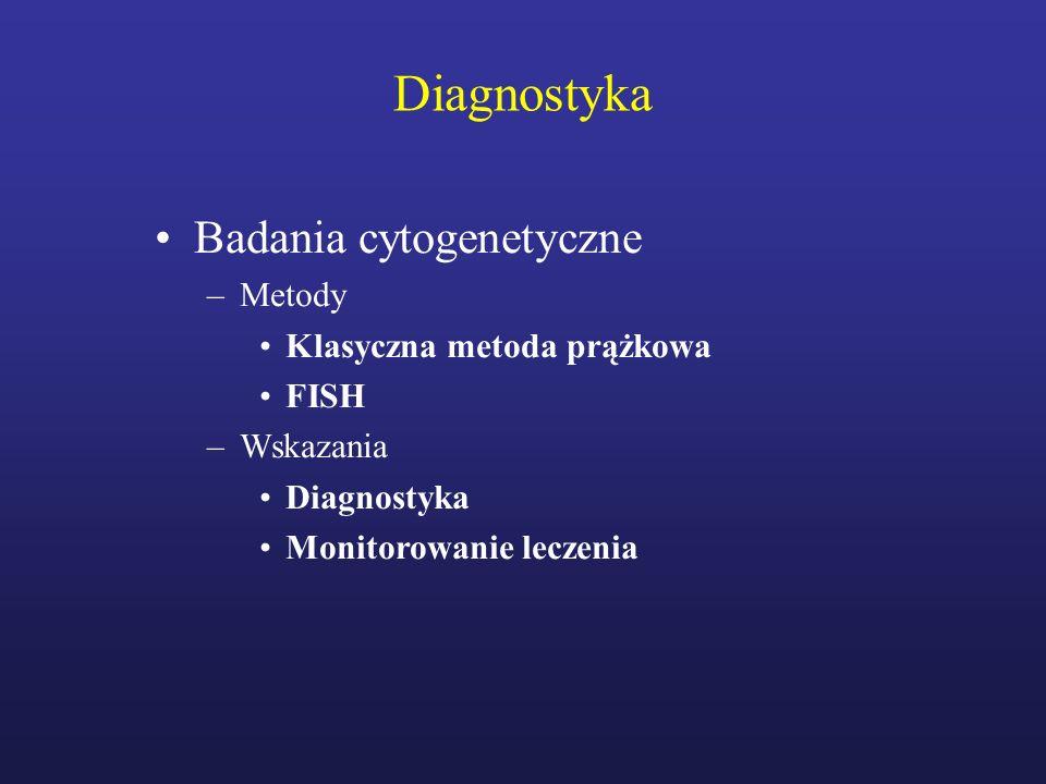 Leczenie Wszyscy chorzy –leczenie odwracalnych chorób i stanów sprzyjających powikłaniom naczyniowym (nadciśnienie tętnicze, palenie papierosów, otyłość, hipercholestrolemia) Chorzy z wysokim ryzykiem powikłań naczyniowych (wiek > 60 lat, liczba płytek powyżej 1500 G/L, epizod zakrzepowy w wywiadzie) –Hydrokskarbamid + małe dawki aspiryny (100 mg/dobę) –Anagrelid lub interferon: leczenie drugiej linii Chorzy z ryzykiem pośrednim powikłań naczyniowych (wiek 40-60 lat, brak czynników wysokiego ryzyka) –małe dawki aspiryny +/- hydroksyurea (u wybranych chorych) Chorzy z małym ryzykiem powikłań naczyniowych (< 40 lat) –małe dawki aspiryny