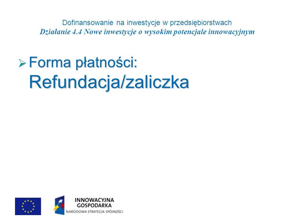 Dofinansowanie na inwestycje w przedsiębiorstwach Działanie 4.4 Nowe inwestycje o wysokim potencjale innowacyjnym Forma płatności: Refundacja/zaliczka Forma płatności: Refundacja/zaliczka