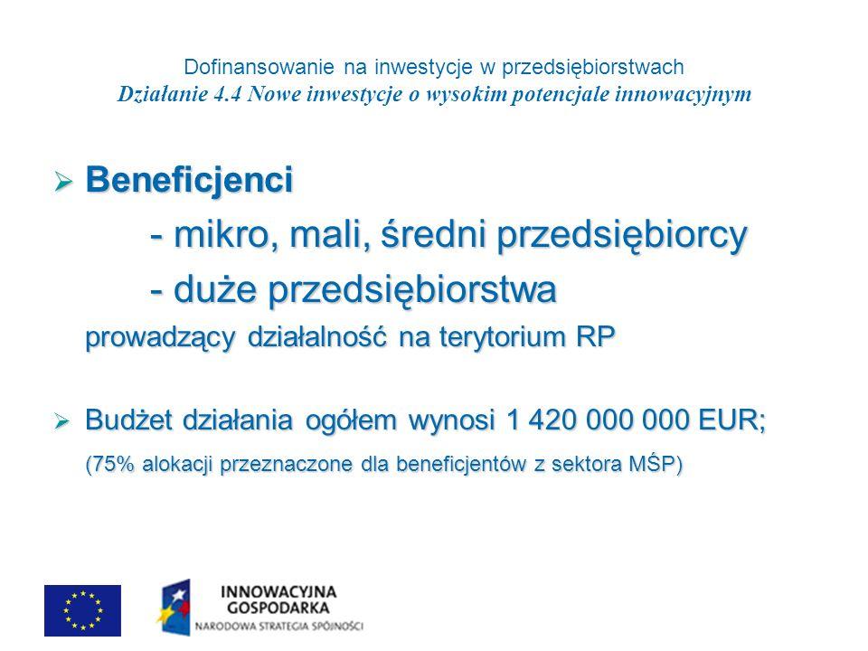 Dofinansowanie na inwestycje w przedsiębiorstwach Działanie 4.4 Nowe inwestycje o wysokim potencjale innowacyjnym Beneficjenci Beneficjenci - mikro, mali, średni przedsiębiorcy - mikro, mali, średni przedsiębiorcy - duże przedsiębiorstwa - duże przedsiębiorstwa prowadzący działalność na terytorium RP Budżet działania ogółem wynosi 1 420 000 000 EUR; Budżet działania ogółem wynosi 1 420 000 000 EUR; (75% alokacji przeznaczone dla beneficjentów z sektora MŚP)