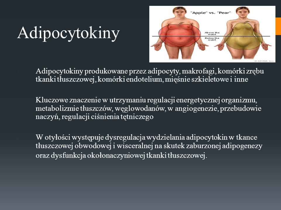 Adipocytokiny 1. Adipocytokiny produkowane przez adipocyty, makrofagi, komórki zrębu tkanki tłuszczowej, komórki endotelium, mięśnie szkieletowe i inn