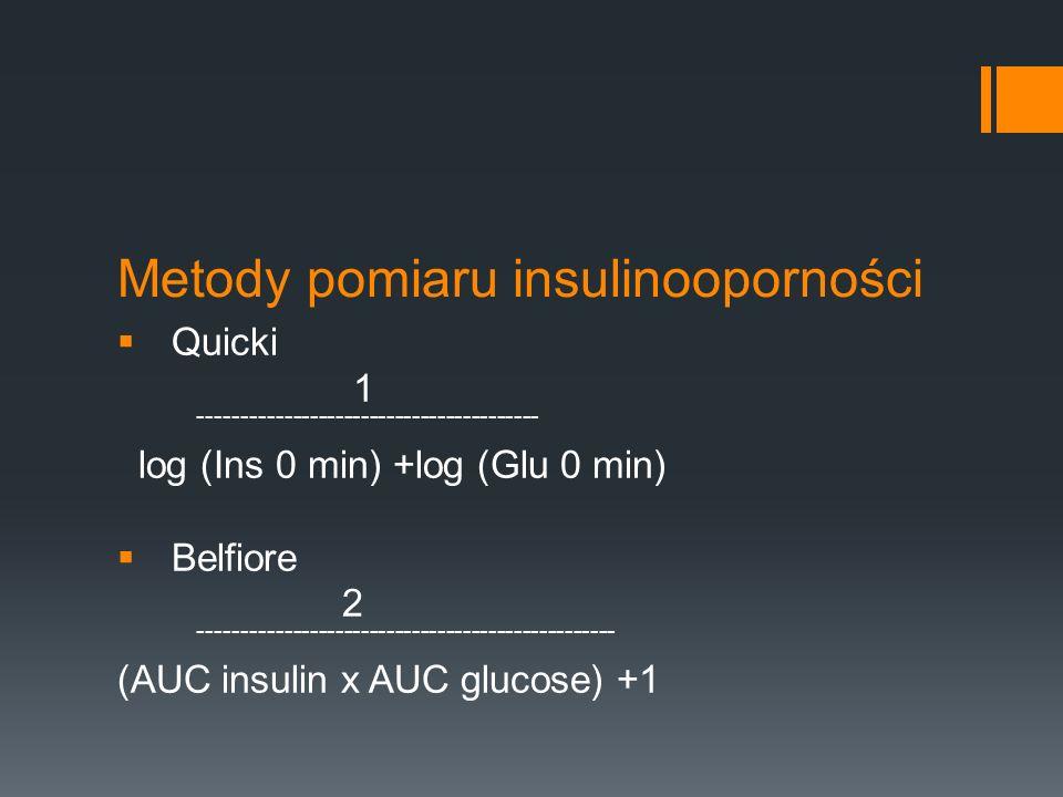 Metody pomiaru insulinooporności Quicki 1 ---------------------------------------- log (Ins 0 min) +log (Glu 0 min) Belfiore 2 -----------------------