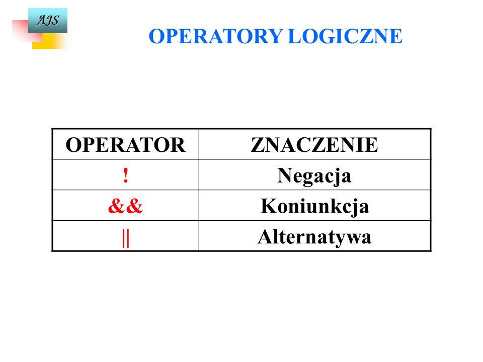AJS OPERATORY RELACYJNE OPERATORZNACZENIE <Mniejszy <=Mniejszy lub równy >Większy >=Większy lub równy ==Równy !=Nierówny