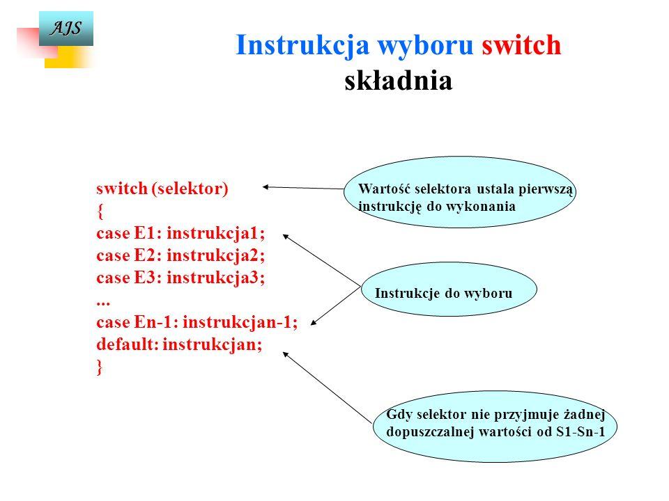 AJS E1: E2: E3: default: wyrażenie sterujące (selektor) Instrukcja1Instrukcja2Instrukcja3Instrukcjan
