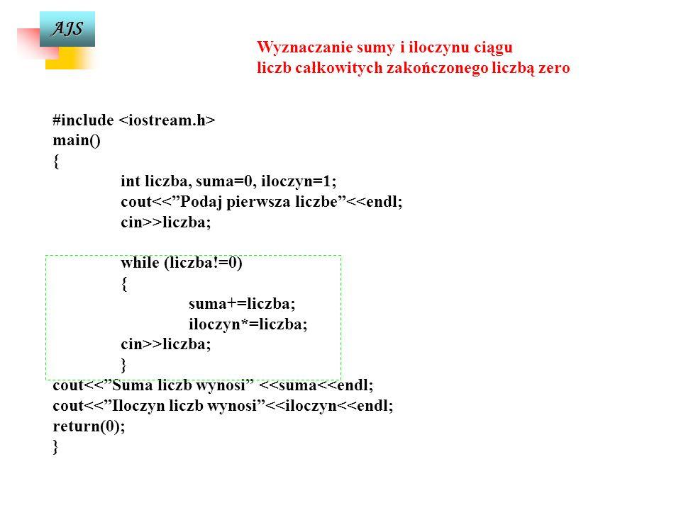 AJS licznik=0; while (w<100) { w=w+10; cout<<w=<<w<<endl; licznik++; } Dopóki warunek jest spełniony instrukcja wewnętrzna pętli będzie wykonywana Prz