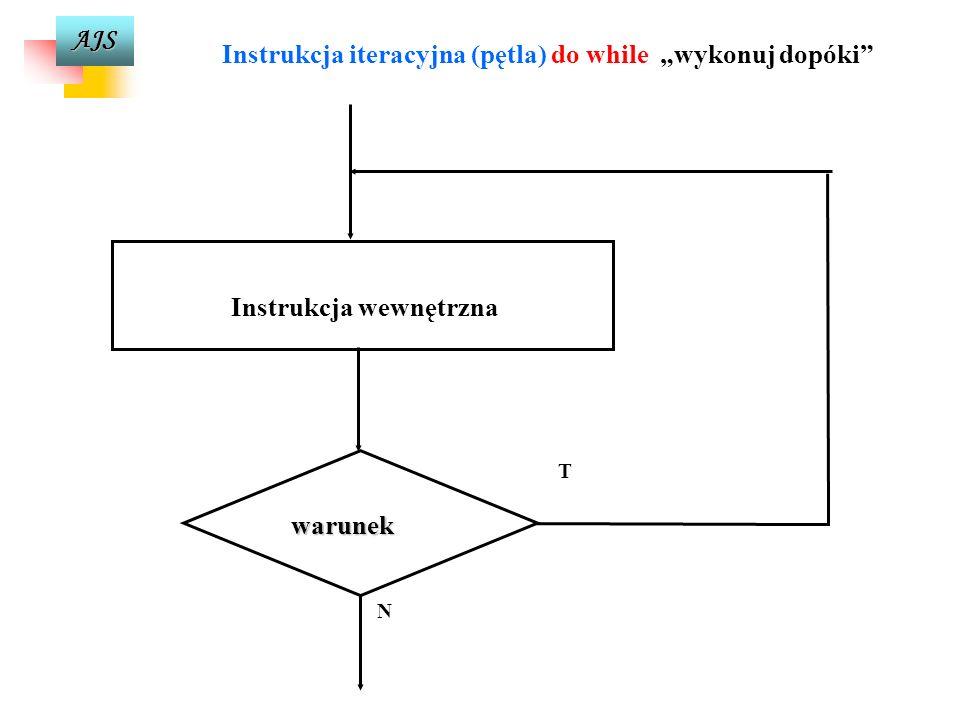 AJS Instrukcja iteracyjna (pętla) do while wykonuj dopóki do instrukcja wewnętrzna while (wyrażenie-warunkowe); Do wykonywania pętli w których wykonan