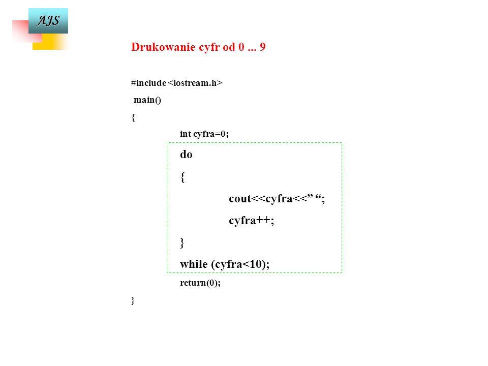 AJS licznik=0; do { w=w+10; cout<<w=<<w<<endl; licznik=licznik+1; } while (w<100); Dopóki warunek nie jest spełniony instrukcja wewnętrzna pętli będzi