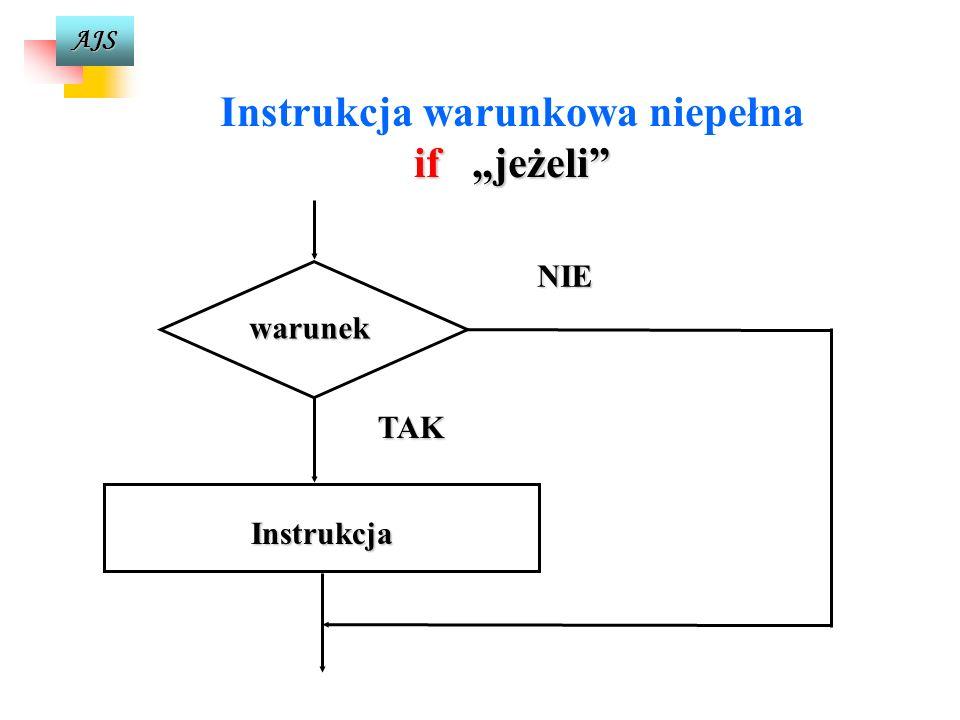 AJS Instrukcja warunkowa if jeżeli if (wyrażenie-warunkowe) instrukcja1 [else instrukcja2] Pozwala na zbadanie warunku w programie, a następnie na kon