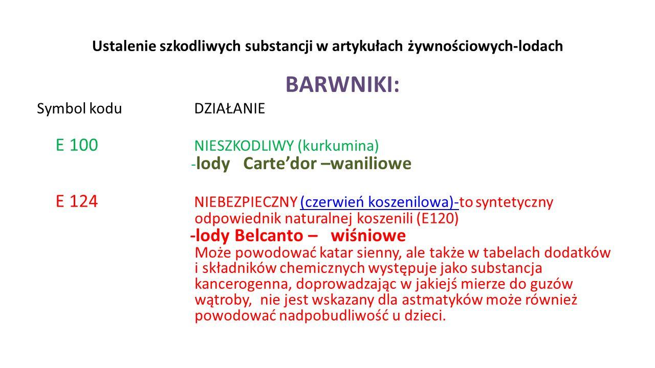 Ustalenie szkodliwych substancji w artykułach żywnościowych-lodach BARWNIKI: Symbol kodu DZIAŁANIE E 100 NIESZKODLIWY (kurkumina) - lody Cartedor –wan