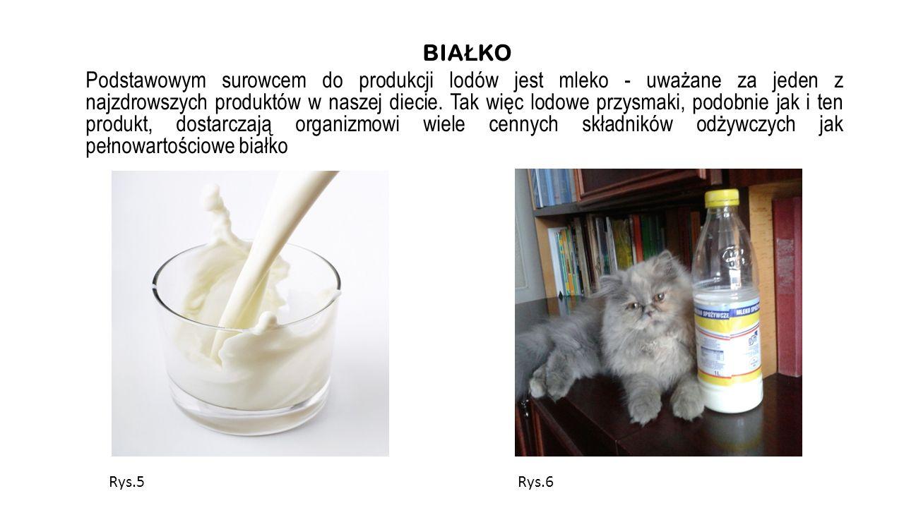 BIA Ł KO Podstawowym surowcem do produkcji lodów jest mleko - uważane za jeden z najzdrowszych produktów w naszej diecie. Tak więc lodowe przysmaki, p